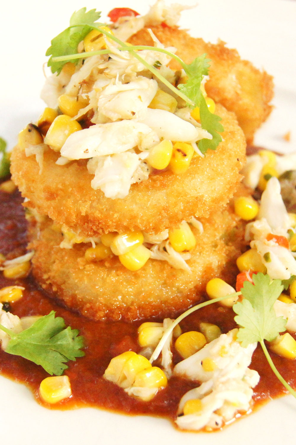 Fried Green Tomatoes with Charred Corn Salsa and Local Blue Crab - Fresh On The Menu Recipe