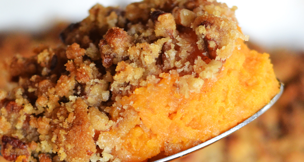 Sweet Potato Casserole with Certified SC Pecan Crumble Topping Ingredients - Fresh On The Menu Recipe