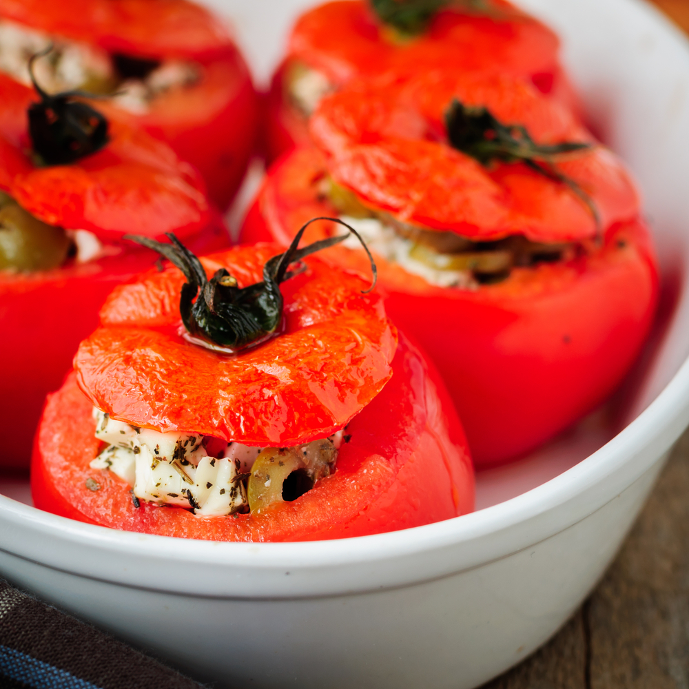 Cheese and Olive Stuffed Tomatoes - Fresh On The Menu Recipe