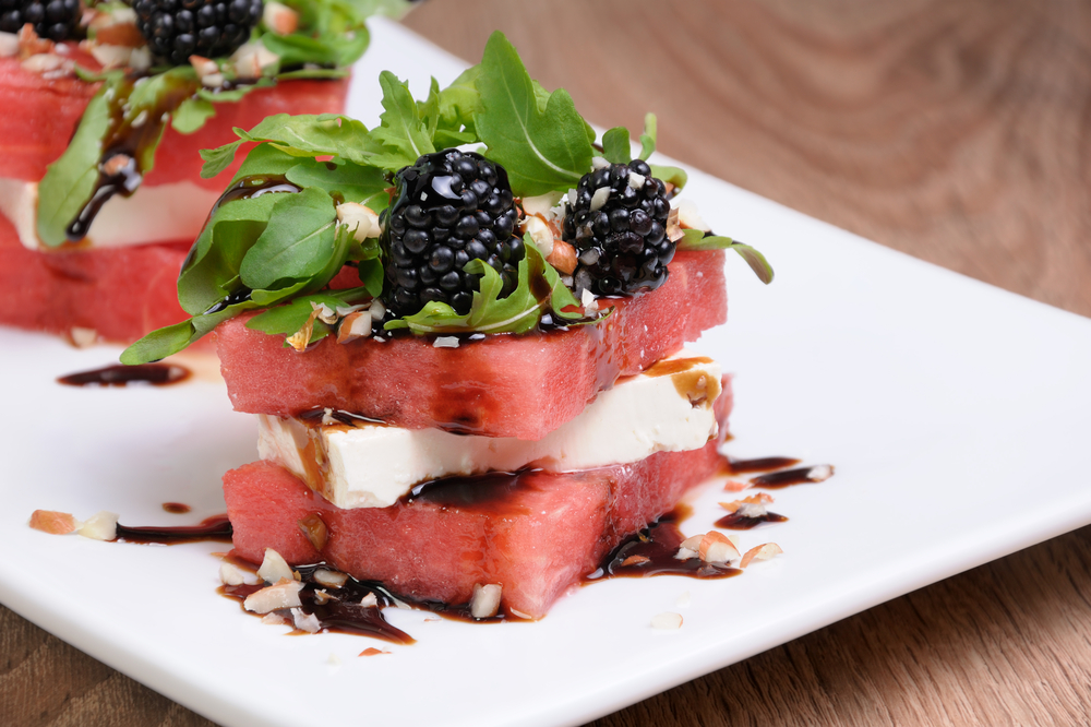 Grilled Watermelon Feta Stacked Salads - Fresh On The Menu Recipe