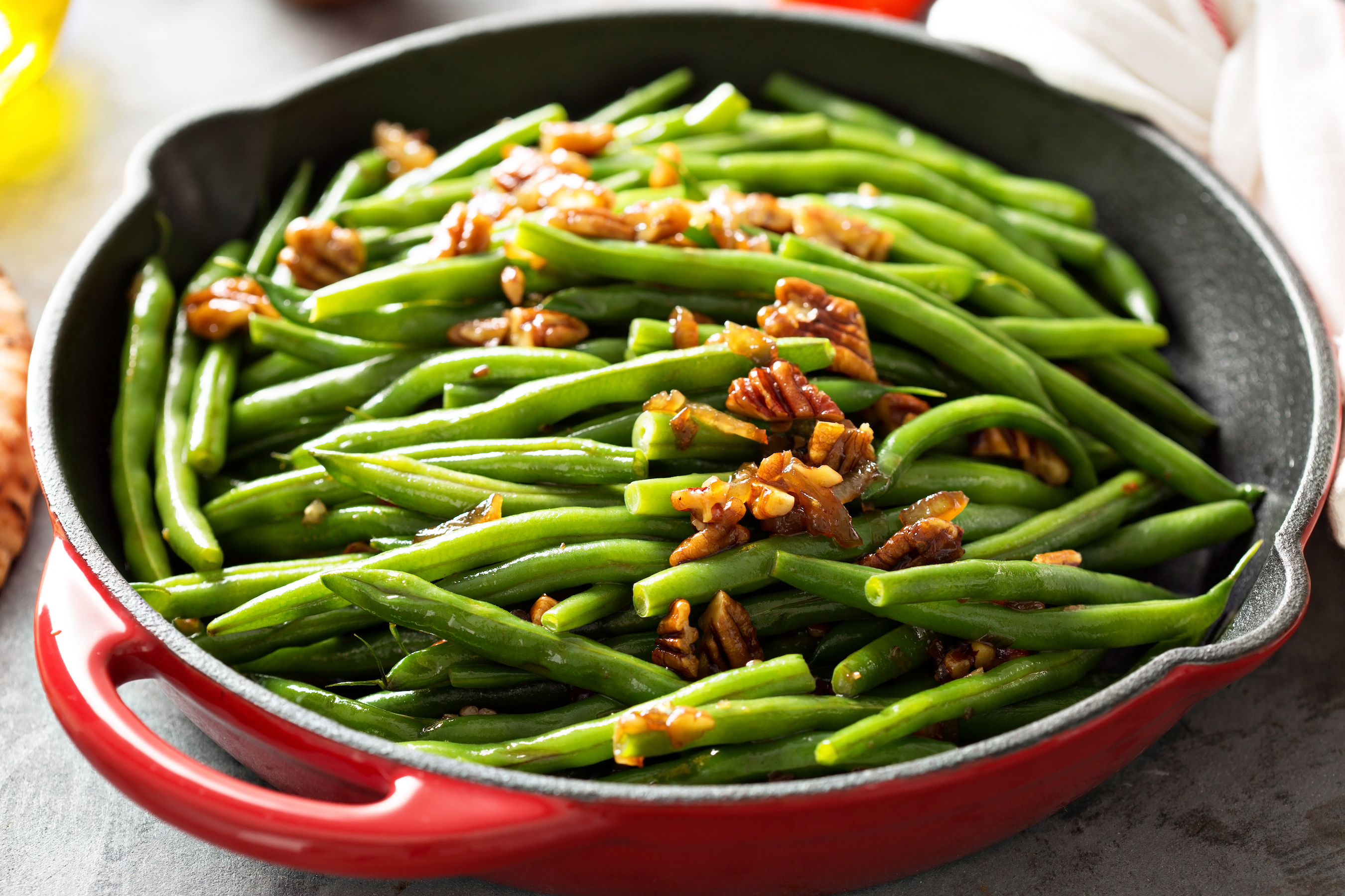 Green Beans with Caramelized Onions and Pecans - Fresh On The Menu Recipe